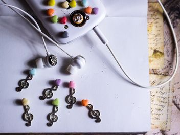 decorating earphones on white background - Free image #187213