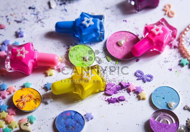 Colorful paint, varnish and stars on a white background - Free image #187223