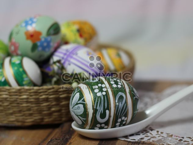 Painted Easter eggs on table - Free image #187543