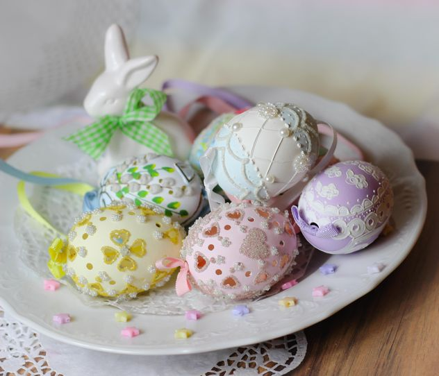 Easter eggs on plate - Free image #187603