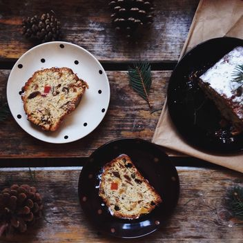 Christmas cake in plates - Free image #198453