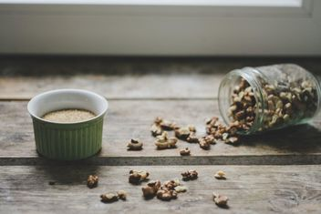 Peeled walnuts on wooden background - Kostenloses image #198463
