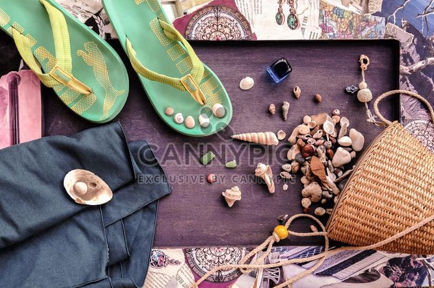 Shells, stones, flip flop and wicker bag - Free image #198933