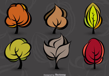Modern autumn trees - vector gratuit #199123