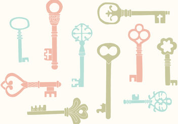 Hand Drawn Vintage Key Vectors - Free vector #199363