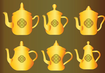 Gold Arabic Coffee Pot Vectors - Free vector #199463