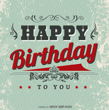 Vintage Happy Birthday postcard - vector #199523 gratis