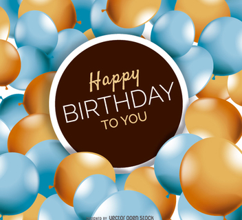 Happy Birthday balloons card - Free vector #199533
