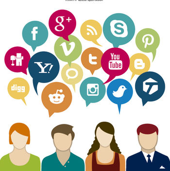 Social media Concept - Free vector #199573