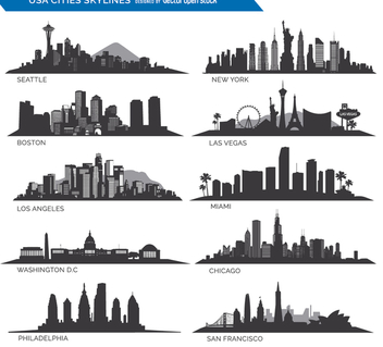 10 Famous USA cities Skylines - Free vector #199603
