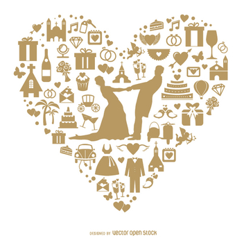 Wedding heart done with icons - Free vector #199683