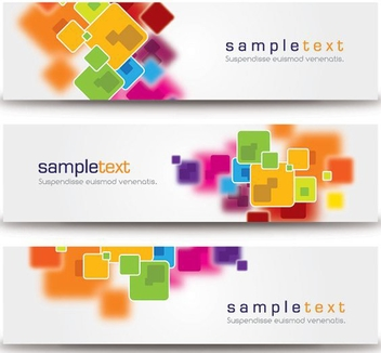 Colorful Squares 3 Abstract Banners - Free vector #199823
