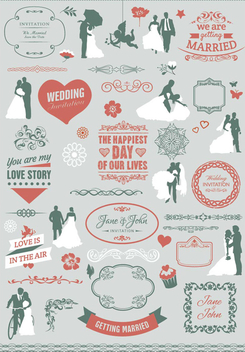 Wedding invitation element pack - vector gratuit #200043