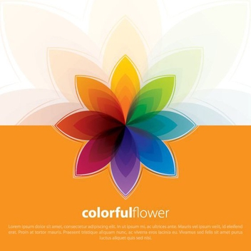 Abstract Colorful Flower Card - vector gratuit #200663