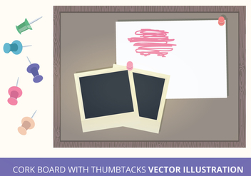Cork Board with Thumbtacks Vector Illustration - Free vector #200833