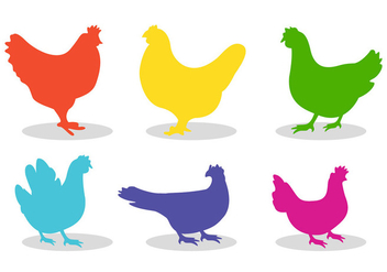 Set of chicken silhouette vectors - vector gratuit #201323