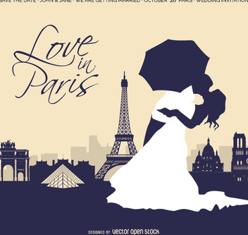 Wedding In Paris Invitation Card - Free vector #201393