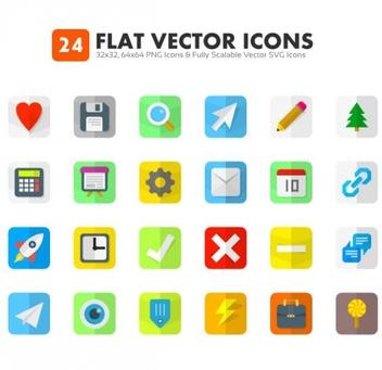 24 Flat Icons Vectors - Kostenloses vector #202013