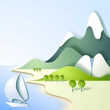 Sea and Mountain Landscape Vector - Free vector #202083