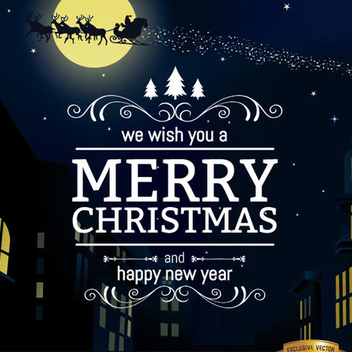 Merry Christmas City Vector Background - Free vector #202153