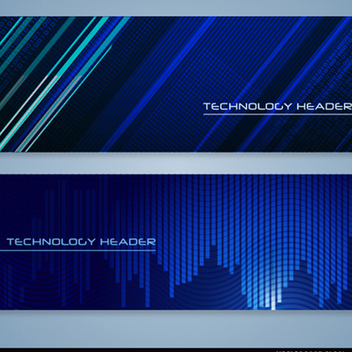 Blue Technology Vector Headers - Free vector #202173