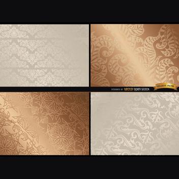 Elegant Metallic Floral Texture Vectors - Free vector #202183