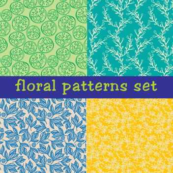 Seamless Floral Vector Patterns - Free vector #202413