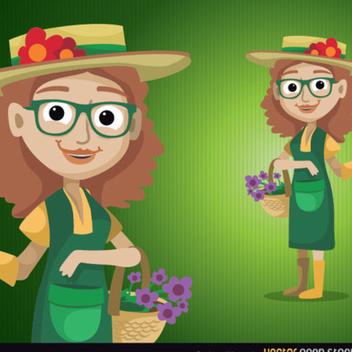 Gardener Woman Vector Character - Free vector #202433