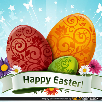 Free Easter Wallpaper Vector With Eggs And Flowers - Free vector #202493