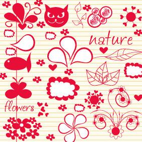 Doodle Nature Elements 1 - Free vector #203953