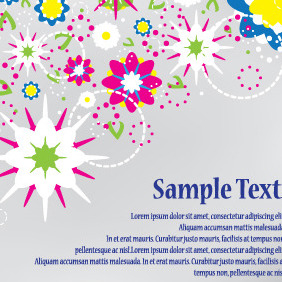 Abstract Flowers Design Vector Card - vector gratuit(e) #204023