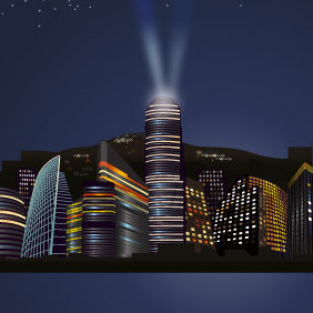 City Nights Skyline - vector gratuit #204353
