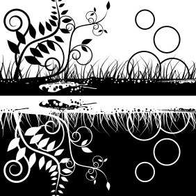 Black White Floral Design - vector gratuit(e) #204403