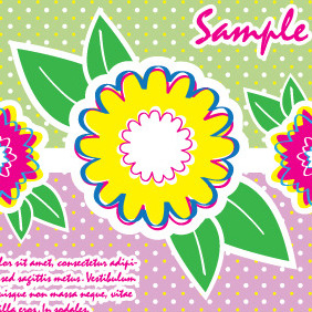 Colorful Card With Flowers - vector gratuit #204903