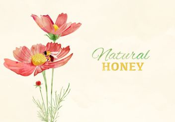 Watercolor Bee And Flowers - Free vector #205143
