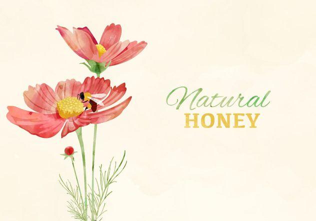 Flores e abelhas em aquarela - Free vector #205143
