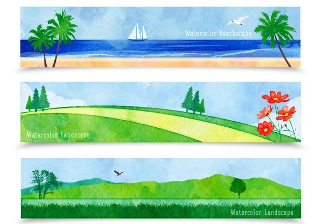 Watercolor Landscape Banners - Free vector #205153