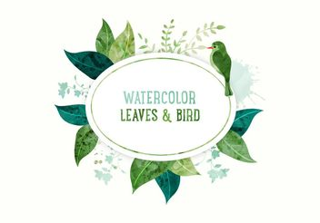 Watercolor Leaves Banner - Free vector #205173
