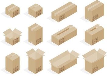 Isometric Cardboard Box Vectors - Kostenloses vector #205233