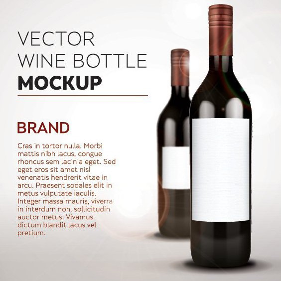 Wine Bottle Mockup - vector gratuit #205473