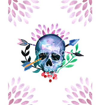 Free watercolor with skull vector - бесплатный vector #206023