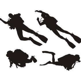 Diving Silhouette - vector gratuit #206133