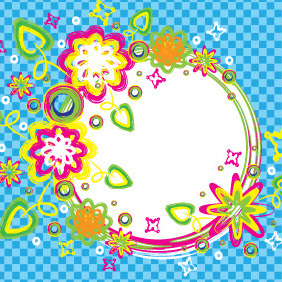 Colorful Summer Brush Circle Banner - Free vector #206153