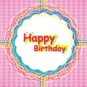 Happy Birthday Card Design - vector gratuit #206233