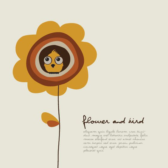 Flower and Bird - Free vector #206883