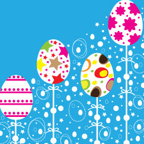 Easter Colorful Ornaments Design - Free vector #208533