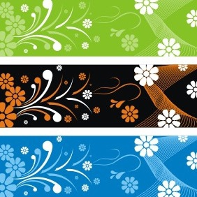 Flower Banner Backgrounds - vector gratuit #208593