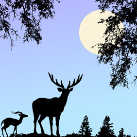 Nature Scene Vector With Deer - бесплатный vector #208603
