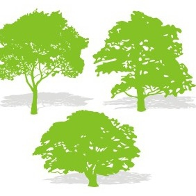 Three Tree Silhouettes - Free vector #208873