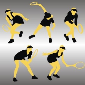 Silhouettes Of Tennis Player - Free vector #209183